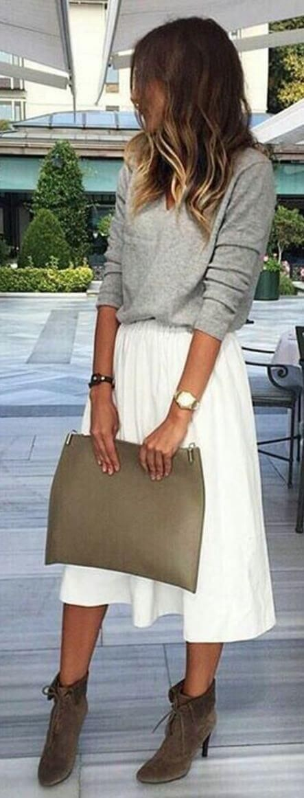 Flowy Skirt, Gray Sweater, Booties, Fall Fashion